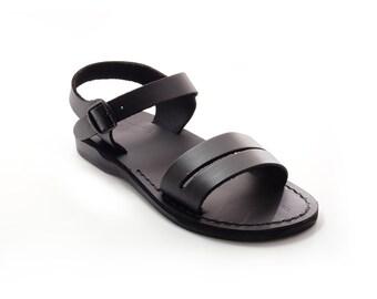 Brown leather sandals, Men gladiator sandals - Model 14 Black