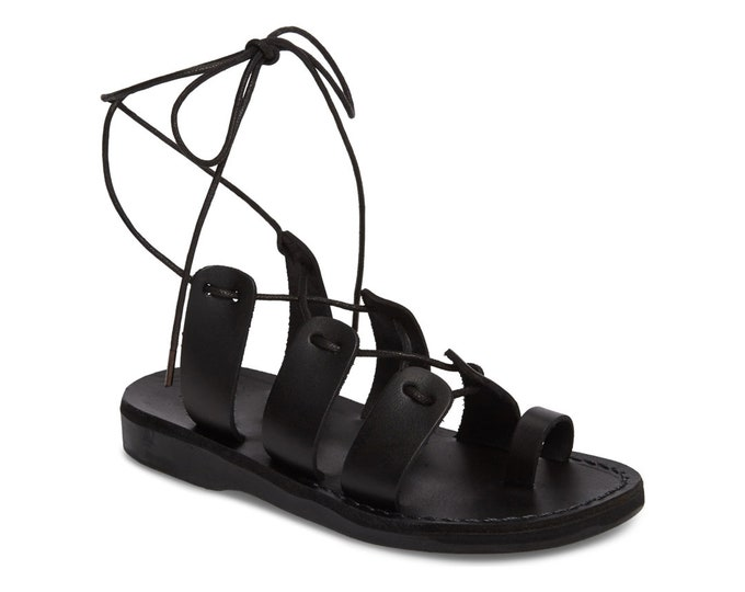 Women's Leather Lace-Up Sandals Black Leather Sandals - New Collection