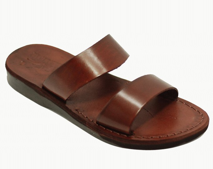 Men Leather Slippers, Flat Slides Slippers - Model 15 Men