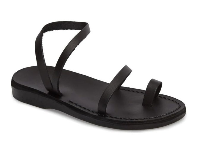 Spring outfit black leather sandals, women greek sandals, wedding sandals - model women new 6