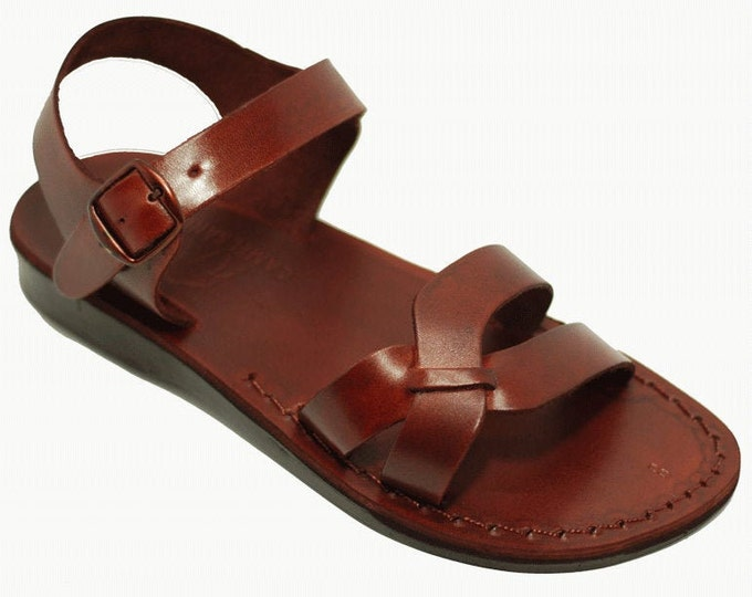 Brown Leather Sandals, Greek Flat Summer Shoes - Model 7