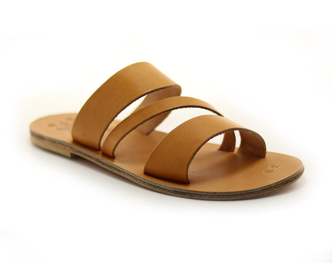 Man Flat Leather Sandals, Greek Handmade Brown Leather Sandal.