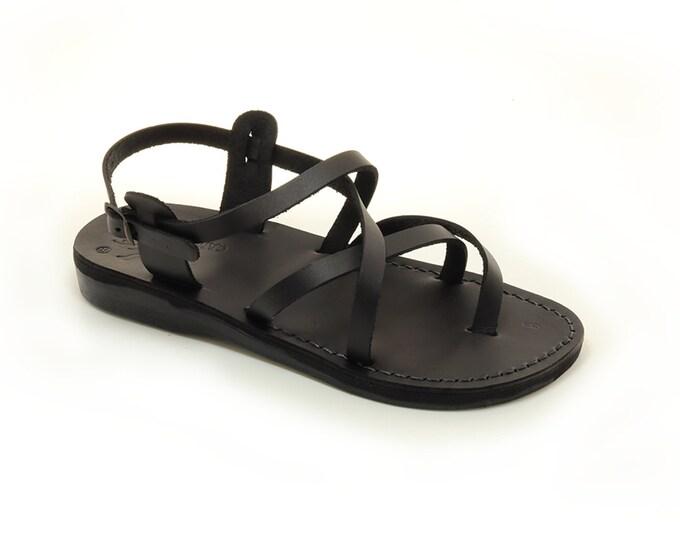 Black sandals flip flops leather sandals - Model 3 Black