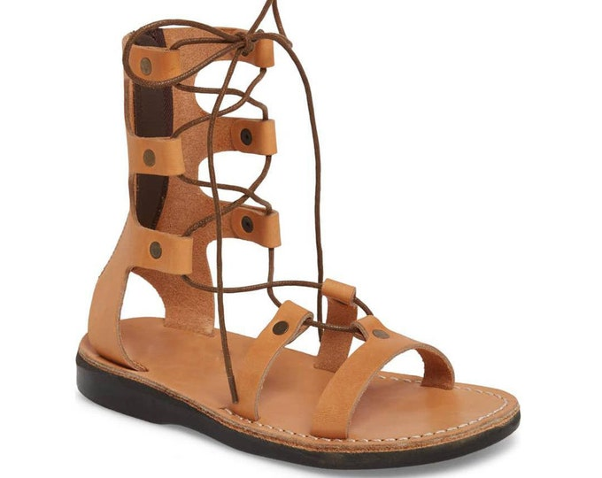 Women's Leather Lace-Up Sandals tan Leather Sandals - New Collection 3
