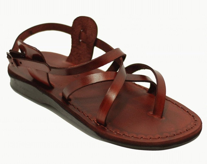 Strappy sandals for women in brown leather sandals - Model 3 Women