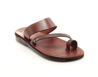 Greek Sandals For Women, Brown Leather Slippers - Model 24