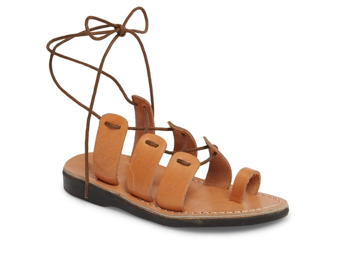 Women's Leather Lace-Up Sandals Tan Leather Sandals - New Collection 2