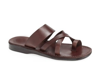 Handmade Brown leather thong  sandals - Model 8 Women