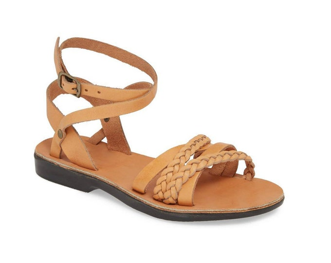 spring outfit brown leather sandals, women greek sandals, wedding sandals - model women new 5