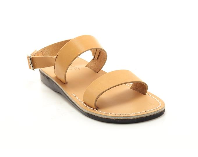 leather sandals greek sandals, men gladiator sandals - Model 72 tan
