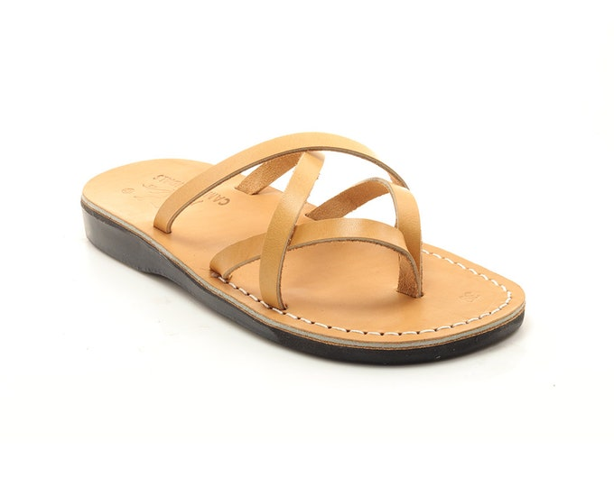 Handmade Tan leather thong  sandals - Model 28 Women