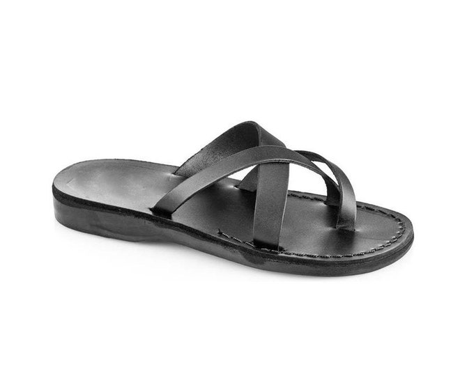 Summer outfits leather sandals Black leather slippers, Greek sandals for women - model 26