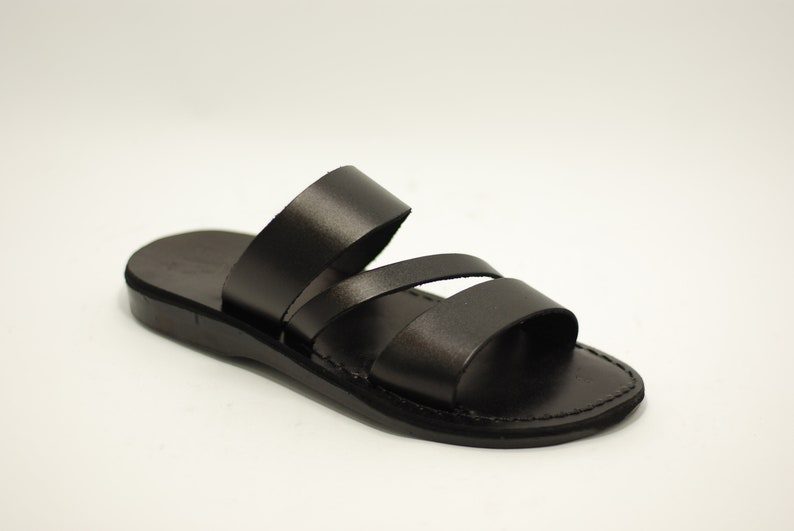 be16f8279d3 Black leather sandals slippers men brown leather sandal for men greek  sandals FREE SHIPPING