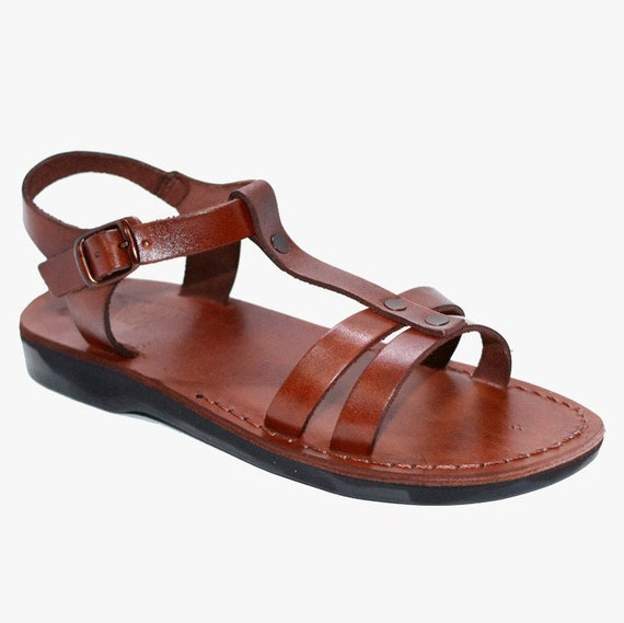 Leather sandal for women, Greek sandals, Brown leather sandals, wedding sandals, Strap sandals flat sandals,