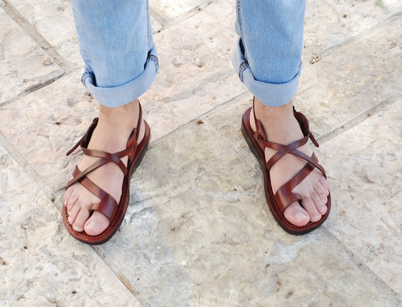 b342cce59d6c Leather sandals for men brown leather sandals men thongs