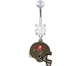 592ada4c1 Licensed Tampa Bay Buccaneers NFL Helmet Charm football Belly navel Ring -  Support your Team!
