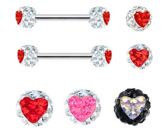 421d596b0ab6ed Pair of Ferido Heart Red, Pink, Clear cz, Black, Ab crystal paved Nipple  barbell internally threaded Steel ring rings 16g 14g 12g 10g