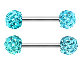 f848b71d56e993 Pair of Aqua lt blue crystal Ferido paved ball Nipple barbell Surgical  Steel ring rings 16g 14g 12g 10g 8g