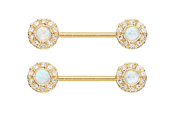 Pair of Rose Gold Heart Synthetic White glitter fire opal Split Key gold plated Nipple bar rings 14g