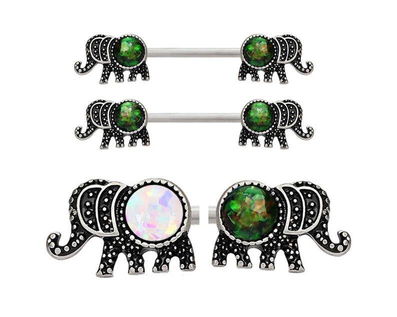 Pair of Elephant White or Green Black Glitter synthetic Fire Opal Steel Nipple barbell ring rings 14g 12g 10g 8g