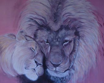 couple of tenderness lion painting oil art on canvas 100 X 100 cm