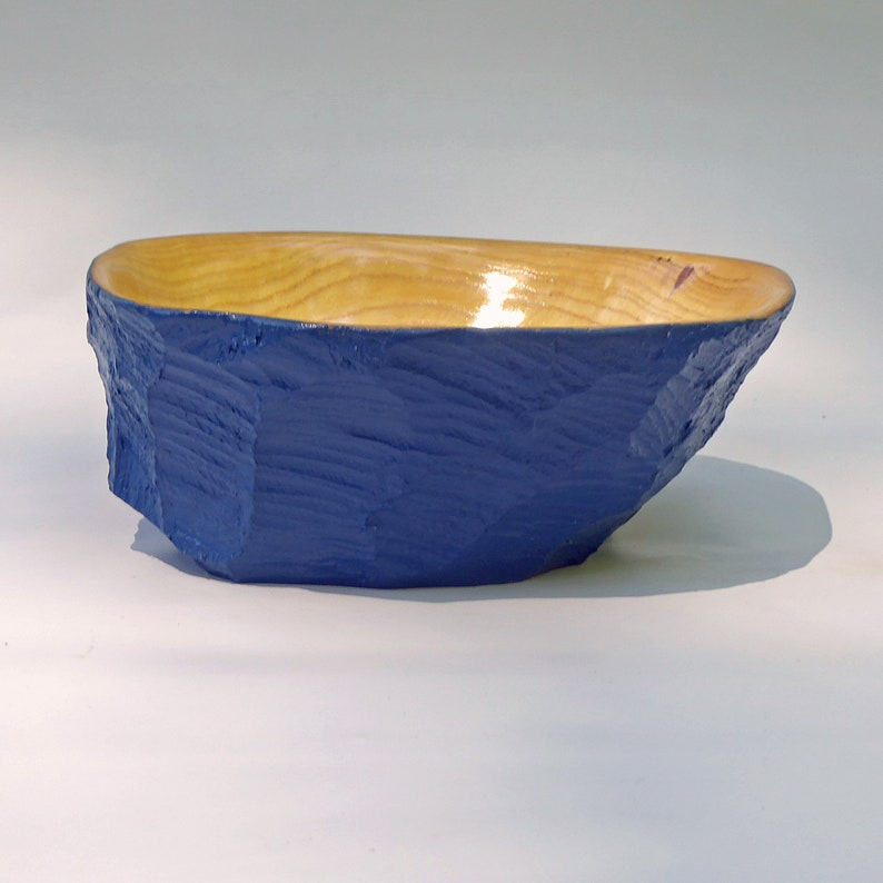 Bowl Carved From a Beaver Tree Stump Painted Blue image 0