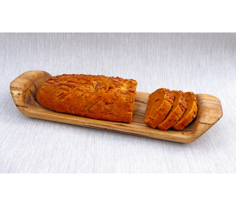 Bread  Server or Cheese Board Carved in Ambrosia Maple image 0