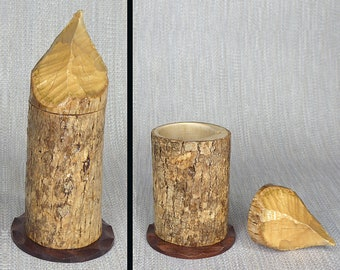 Small Box Made From a Beaver-Chewed Log