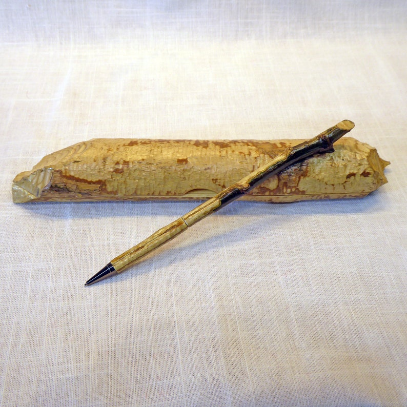 Twist Pen Made From a Beaver-Chewed Stick With Box Made From a image 0