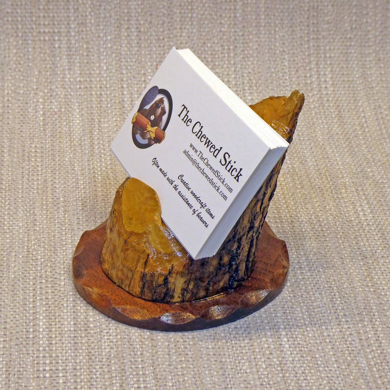 Business Card Holder Made From a Beaver-Chewed Log image 0