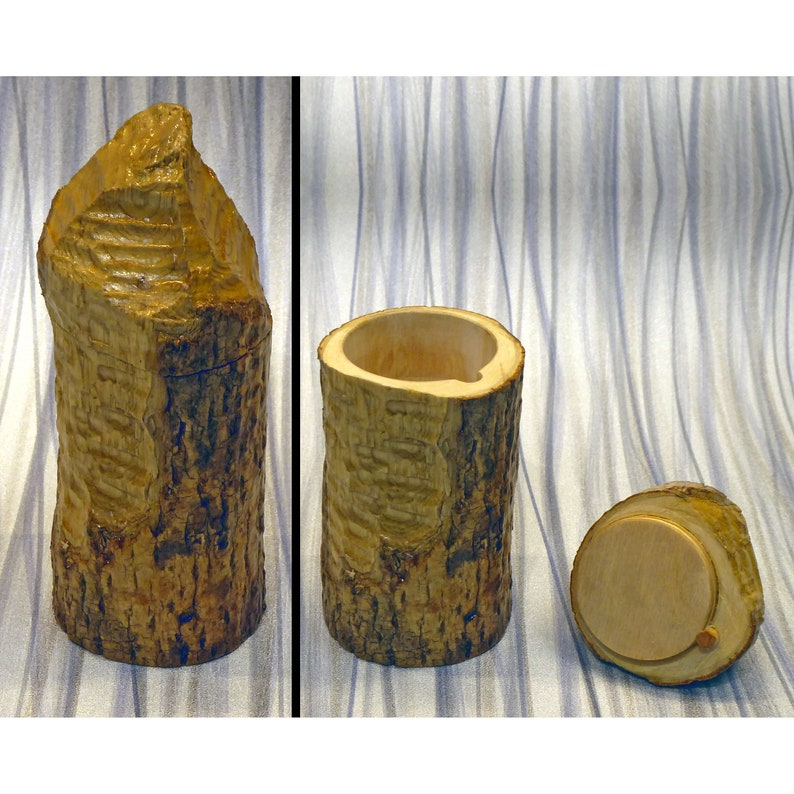 Small Box Made From a Beaver-Chewed Log image 0
