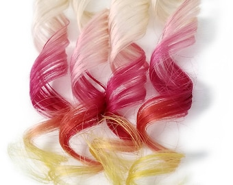 "READY TO SHIP 12"" Tape in Human Hair Extensions 613 Blonde Highlights Remy Fire Ombre Balayage Rainbow Hair Red and Yellow Tips"