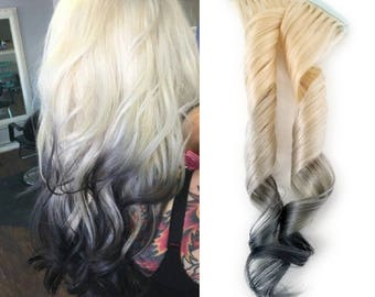 Reverse Ombre Tape in Human Hair Extensions Blonde Highlights Remy Blonde and Silver Titanium Charcoal Gray Ombre
