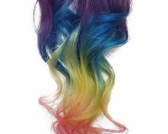 Wide Clip in Rainbow Color Melt Ombre Clip in Human Hair Extensions Purple Blue Yellow Pink Color Melt Highlights