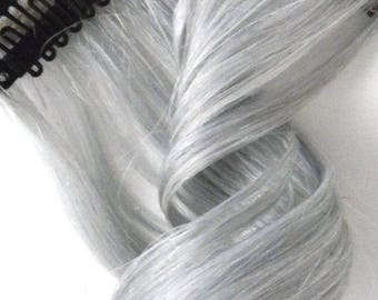 """8"""" - 24"""" Lightest Silver Gray Clip in Human Hair Extensions Highlights to Create Colorful Styles"""
