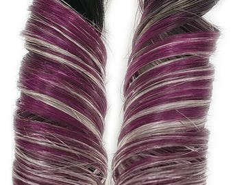READY TO SHIP #1b Rainbow Ombre Clip in Human Hair Extensions Magenta Red Purple Pink and Silver Ombre Hair For Mermaid Unicorn Hairstyles