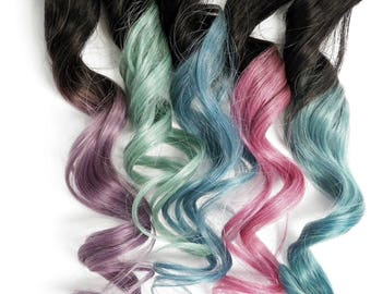 Pastel Clip in Human Hair Extensions Set Metallic Ombre Blue Light Purple Lavender Pink Green