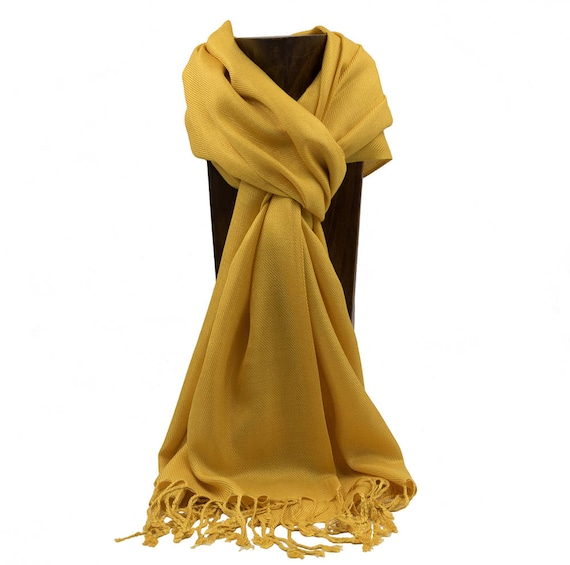 Pashmina Scarf Shawl Yellow Mustard Or Any Solid Color Etsy