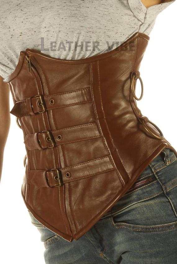 Full Steel Bone Basque Gothic Shape Underbust Velvet and Real Leather Corset