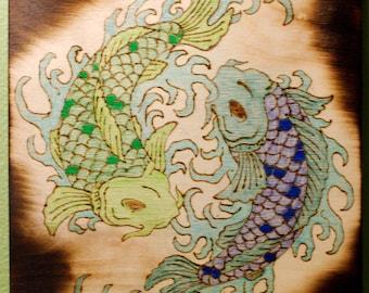 Wood Burned and Colored Koi Fish - Darkened