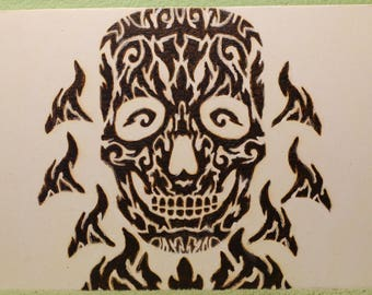 Wood Burned Glow-in-the-Dark Flaming Skull