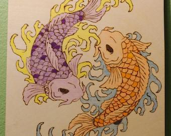 Wood Burned and Colored Koi Fish