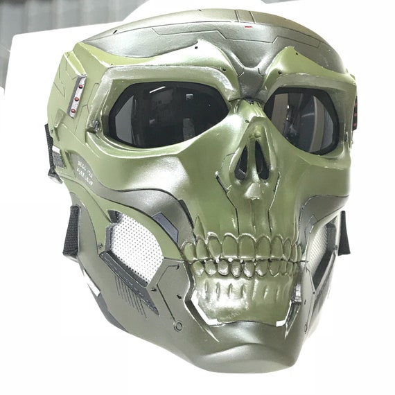 ecf0c6beb5 Tactical look skull mask complete set   all assembled green