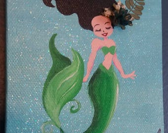 Mermaid Painting with Florals