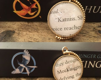 Hunger Games rotating 'Katniss' 'Mockingjay' book page necklace pendant, Hunger Games gifts