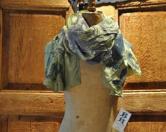 Silk Hand dyed, silk screened, one of a kind, hand dyed silk scarf. Reiki infused.