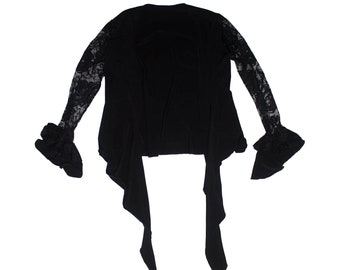 0a11862733055 Ole Ole Flamenco See through blouse slim fit top color Black unique size S