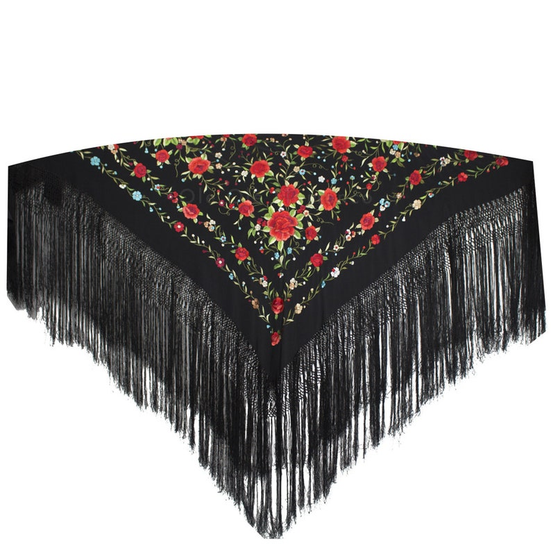 Black with Multi Colour Pattern//Black Fringe New Spanish Flamenco Shawl Large
