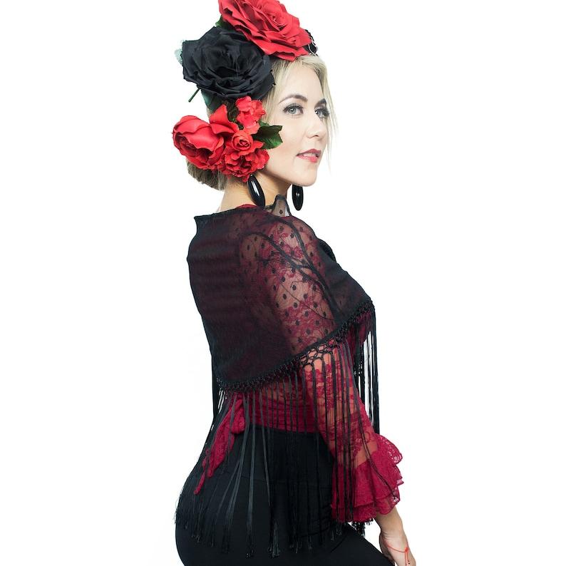 Ole Ole Flamenco Shawl Black Plumeti Woman Mantoncillo Etsy