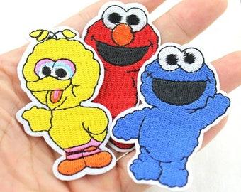 10f4d54814 Patch Elmo Sesamstraße Monster Bügelbild Applikation Aufnäher Kinderstoff  Krümelmonster